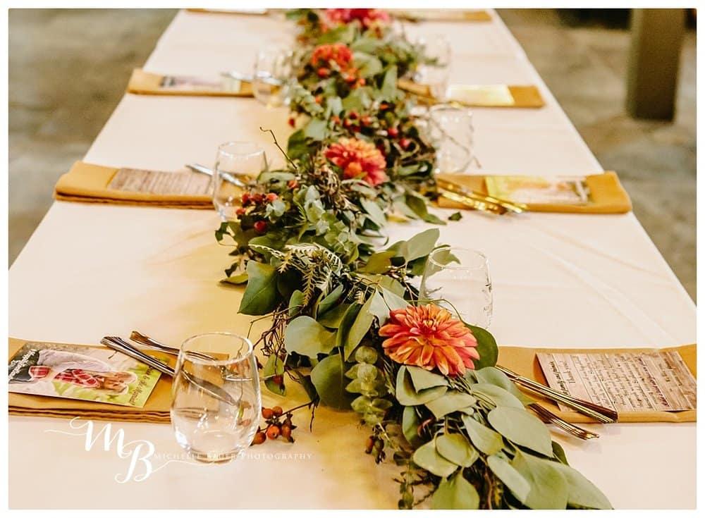 Wedding wine glasses and garland